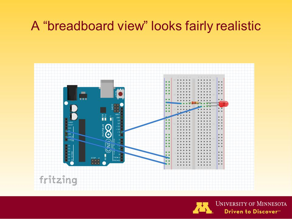 A breadboard view looks fairly realistic