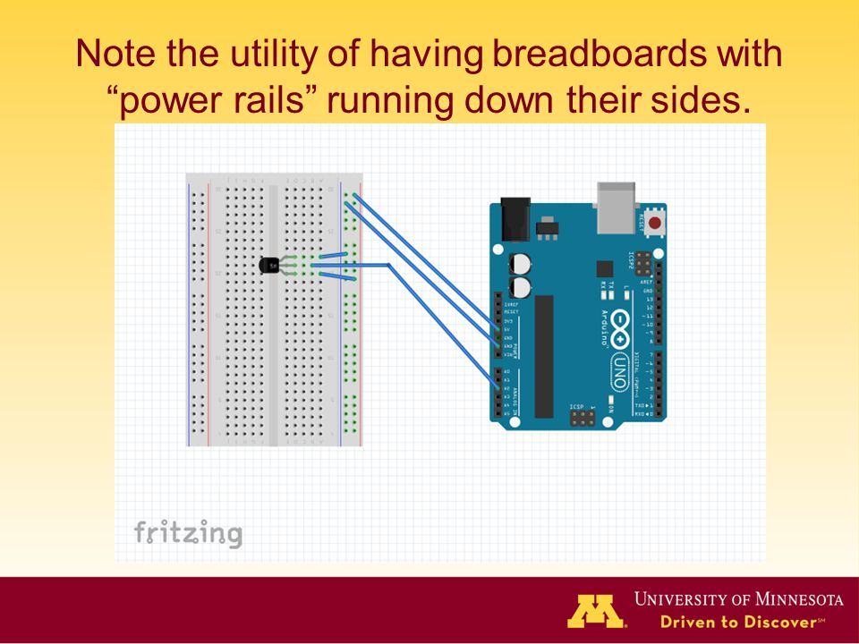 Note the utility of having breadboards with power rails running down their sides.