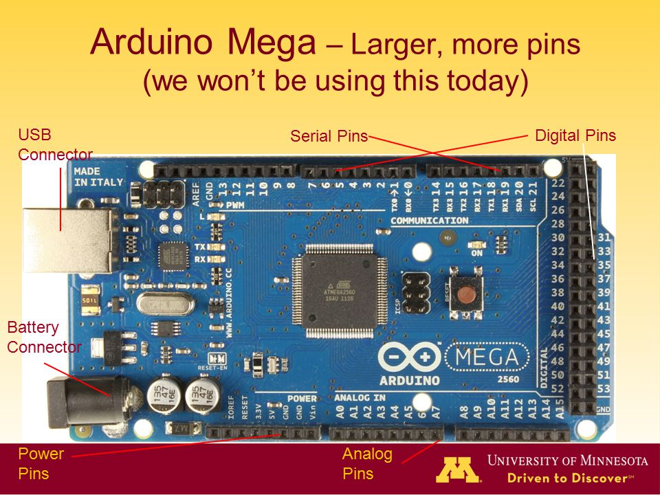Arduino Mega – Larger, more pins (we won't be using this today)