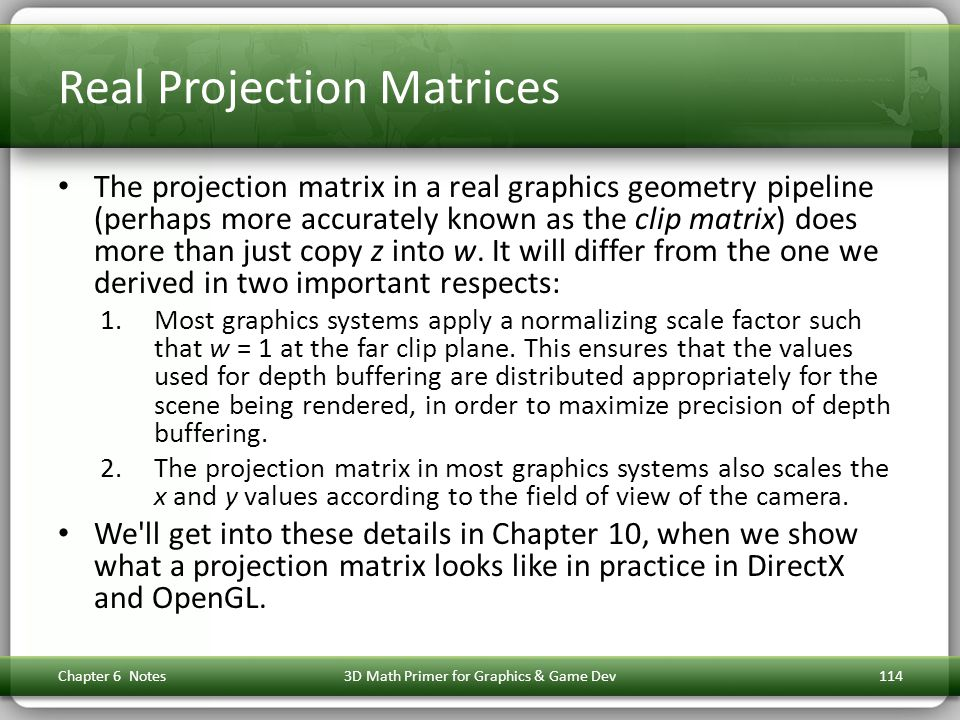 Real Projection Matrices