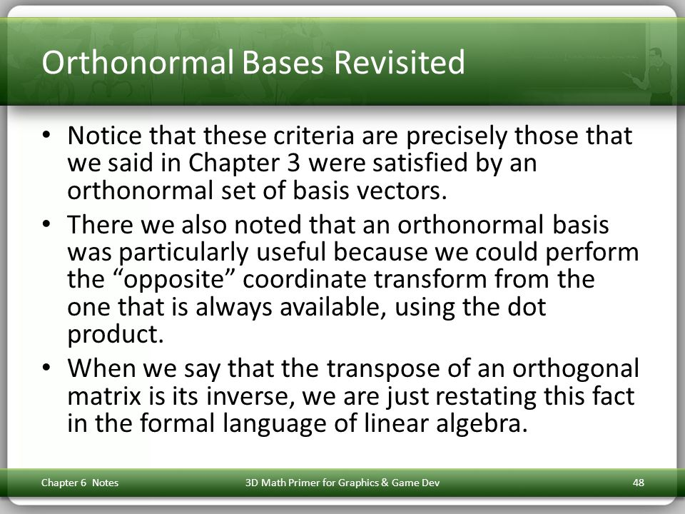 Orthonormal Bases Revisited