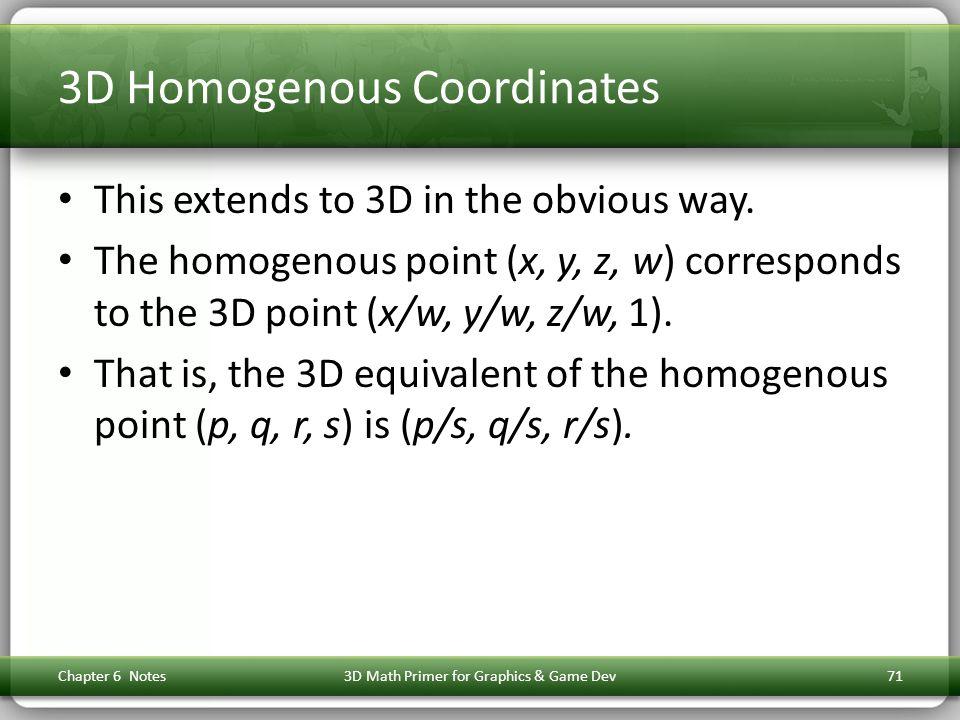 3D Homogenous Coordinates