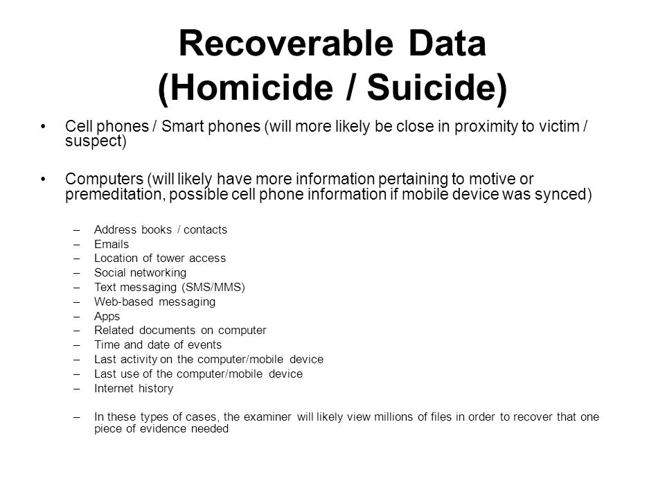 Recoverable Data (Homicide / Suicide)