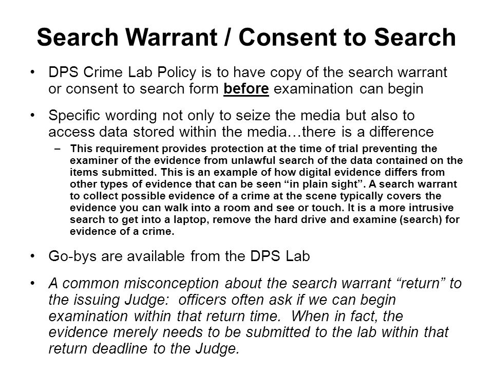 Search Warrant / Consent to Search