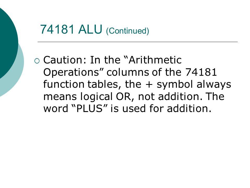 74181 ALU (Continued)