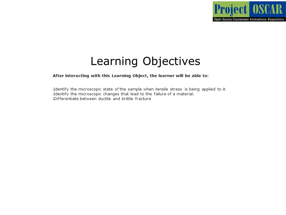 3 Learning Objectives. After interacting with this Learning Object, the learner will be able to: