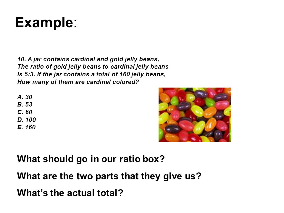 Example: What should go in our ratio box