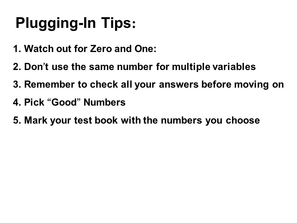 Plugging-In Tips: Watch out for Zero and One: