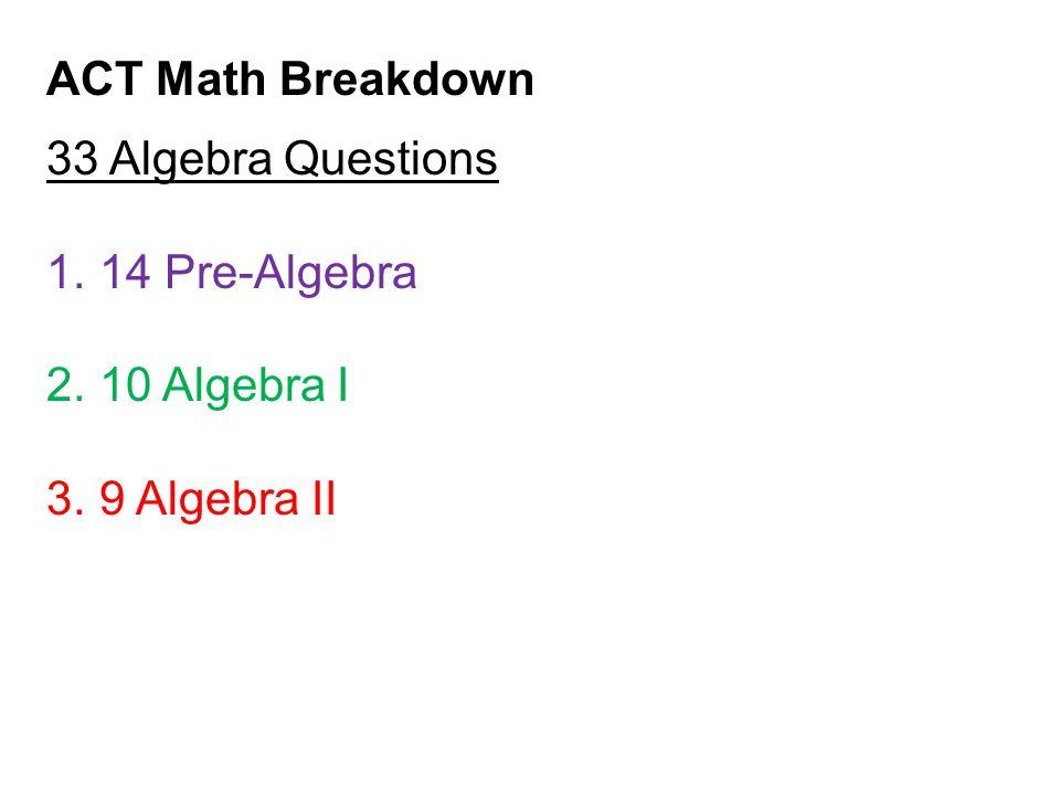 ACT Math Breakdown 33 Algebra Questions 14 Pre-Algebra 10 Algebra I 9 Algebra II