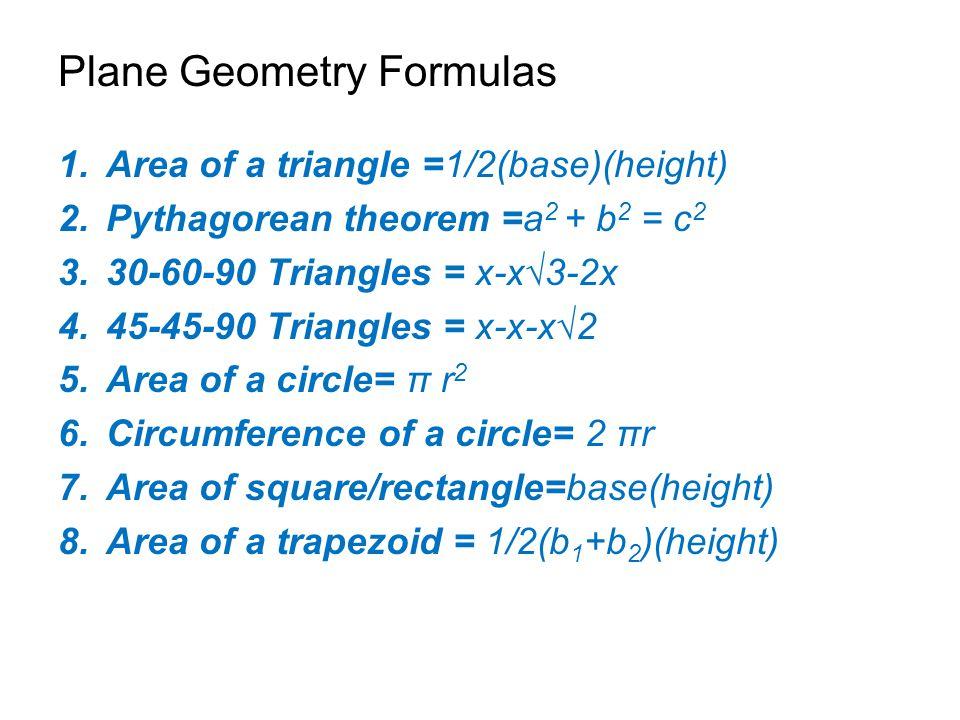Plane Geometry Formulas