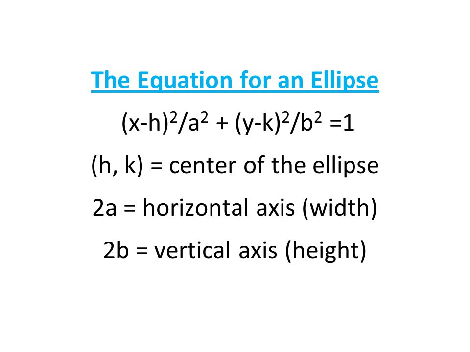 The Equation for an Ellipse (x-h)2/a2 + (y-k)2/b2 =1 (h, k) = center of the ellipse 2a = horizontal axis (width) 2b = vertical axis (height)