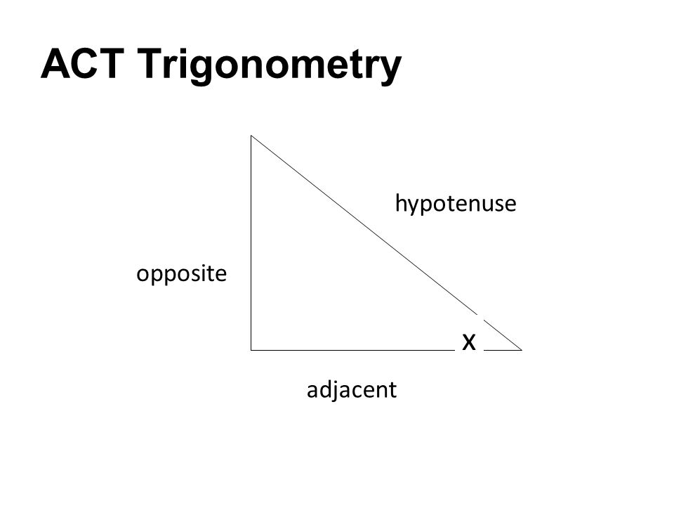 ACT Trigonometry hypotenuse adjacent opposite x