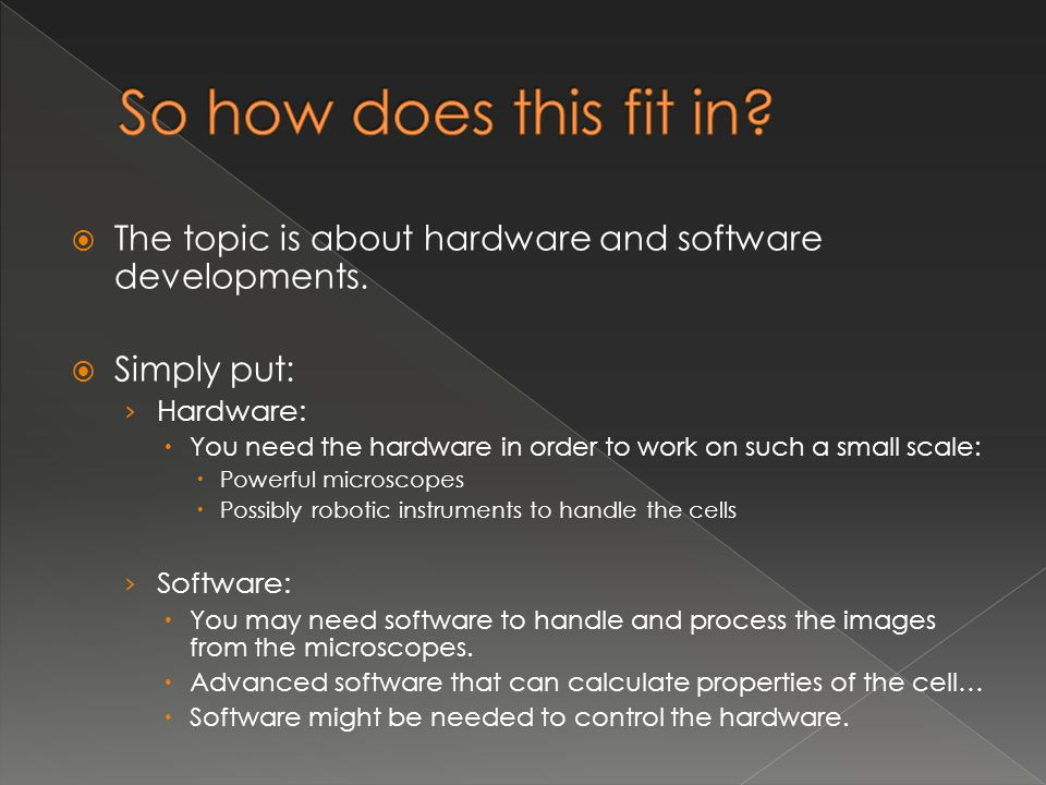So how does this fit in The topic is about hardware and software developments. Simply put: Hardware: