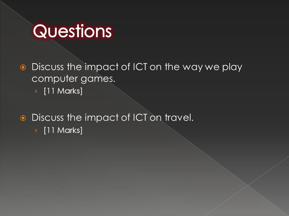 Questions Discuss the impact of ICT on the way we play computer games.