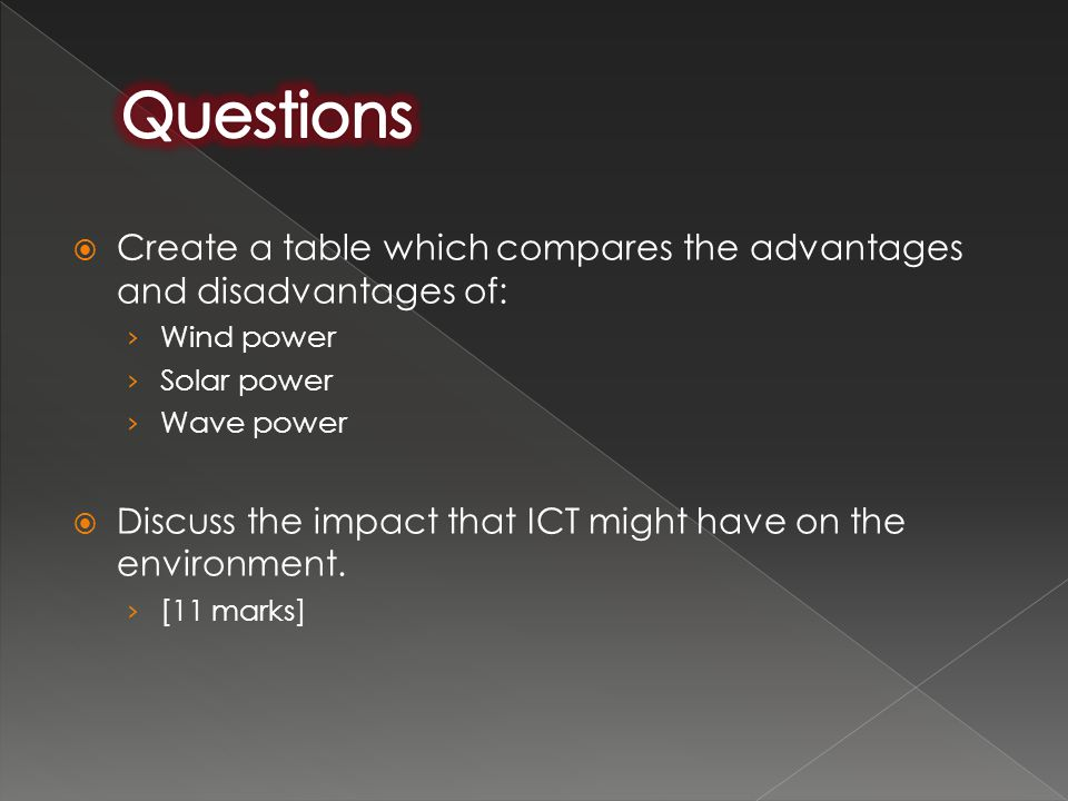 Questions Create a table which compares the advantages and disadvantages of: Wind power. Solar power.