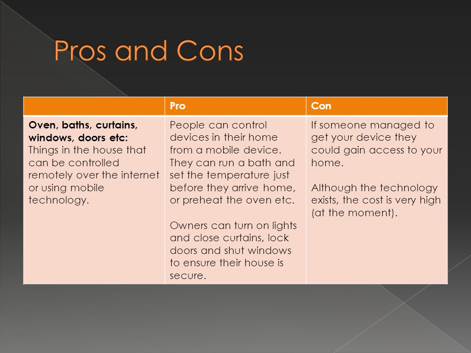 Pros and Cons Pro Con Oven, baths, curtains, windows, doors etc: