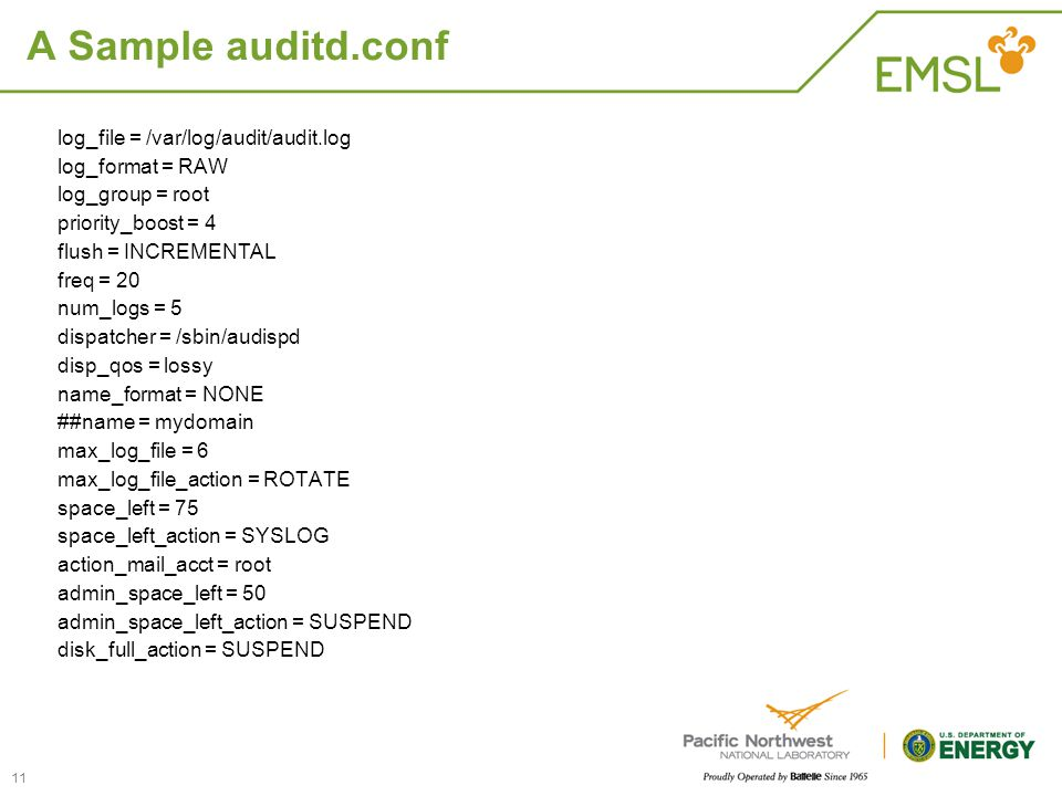 A Sample auditd.conf