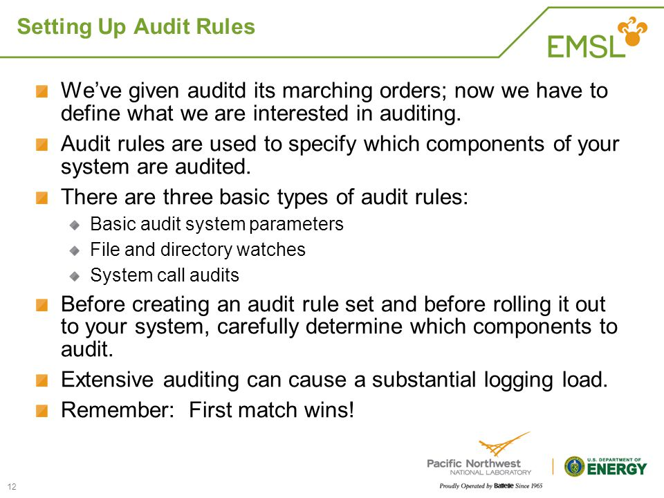 There are three basic types of audit rules:
