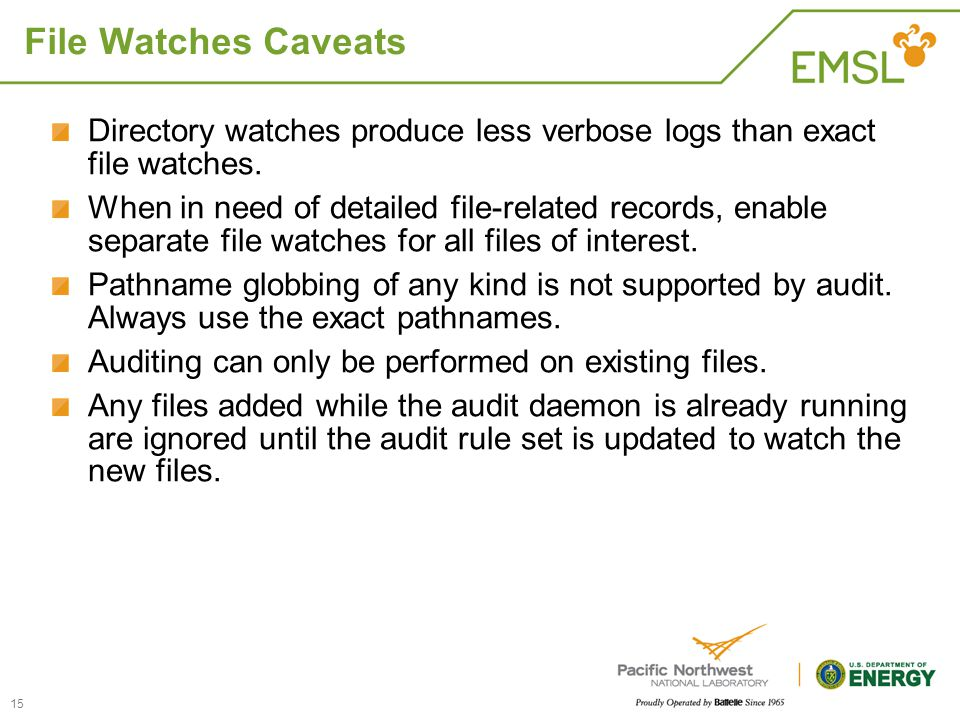 File Watches Caveats Directory watches produce less verbose logs than exact file watches.