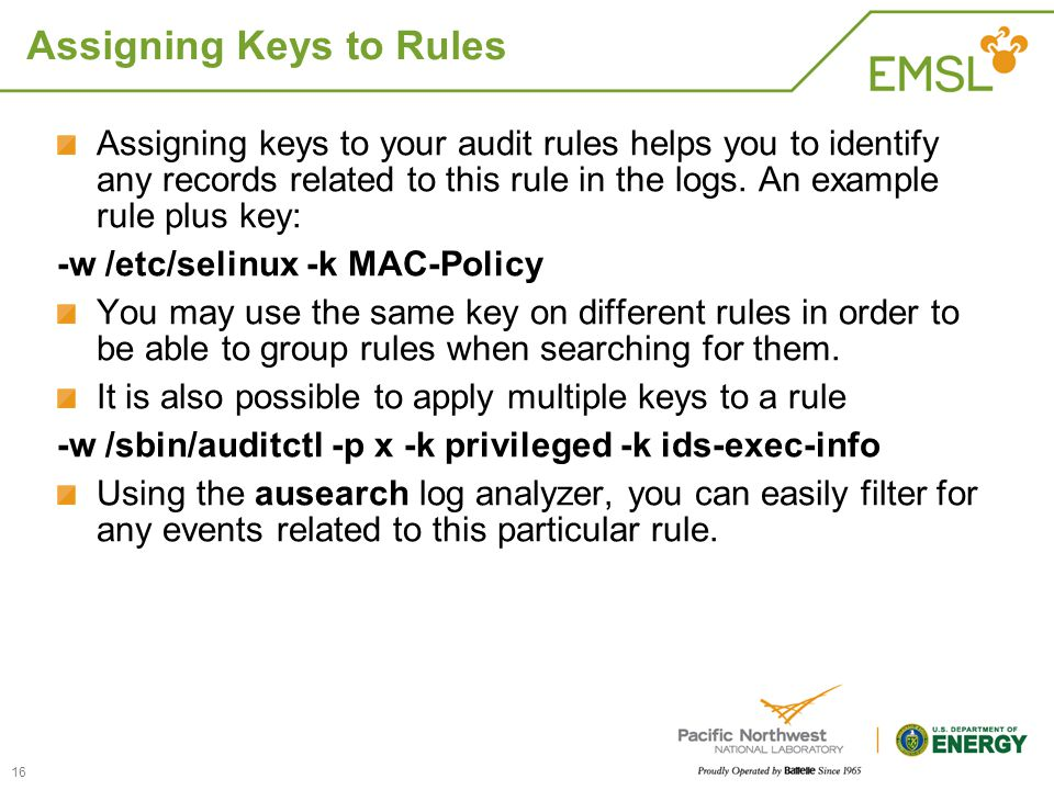 Assigning Keys to Rules