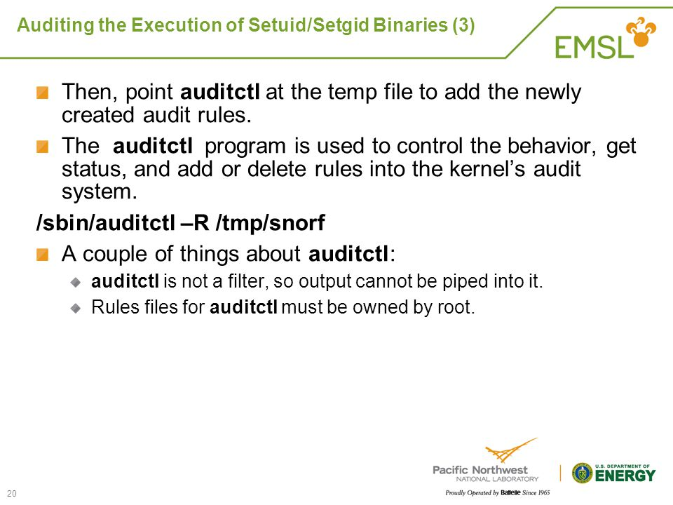 Auditing the Execution of Setuid/Setgid Binaries (3)