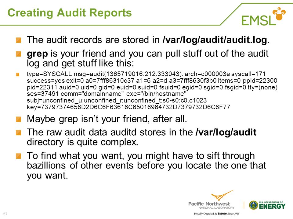 Creating Audit Reports