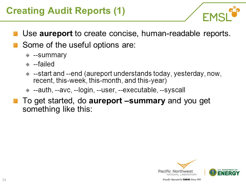Creating Audit Reports (1)