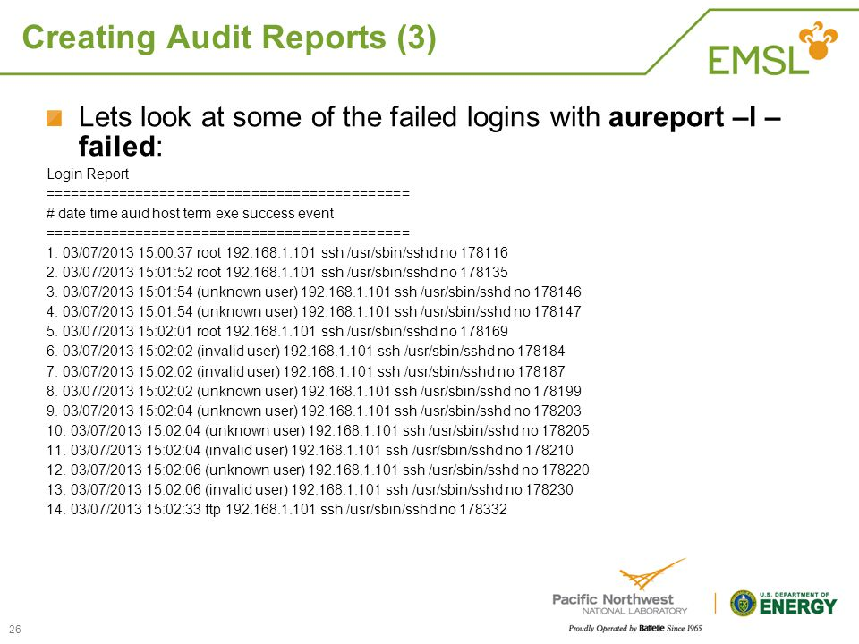 Creating Audit Reports (3)