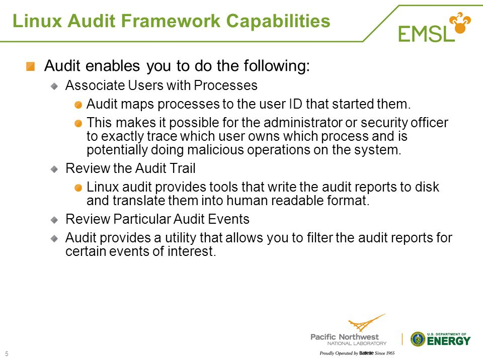Linux Audit Framework Capabilities