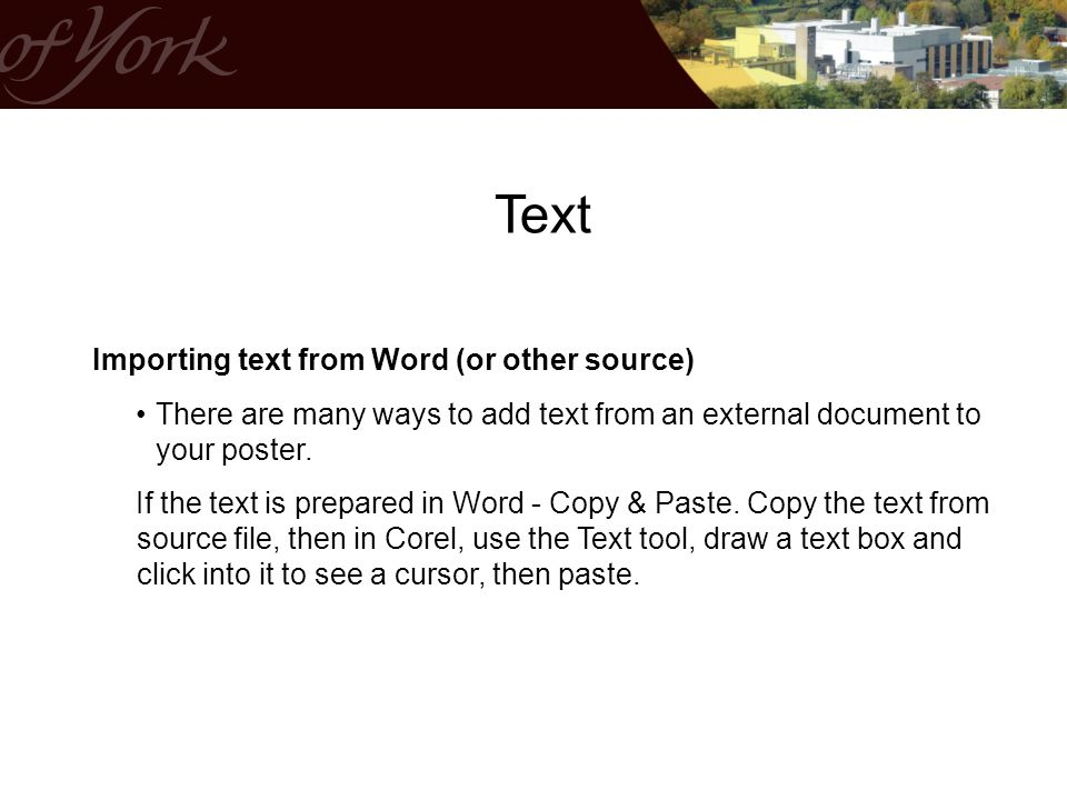Text Importing text from Word (or other source)