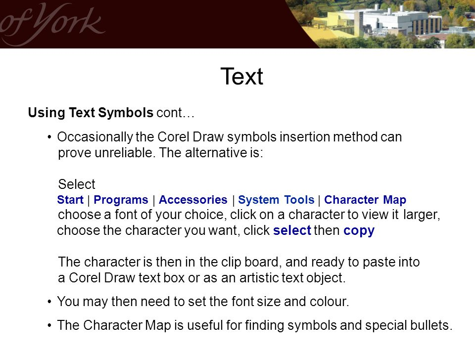 Text Using Text Symbols cont…