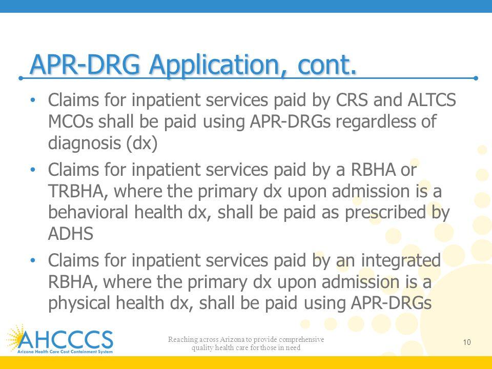 APR-DRG Application, cont.