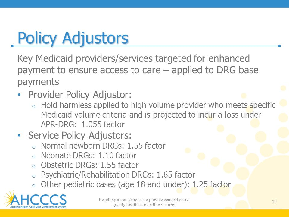 Policy Adjustors Key Medicaid providers/services targeted for enhanced payment to ensure access to care – applied to DRG base payments.