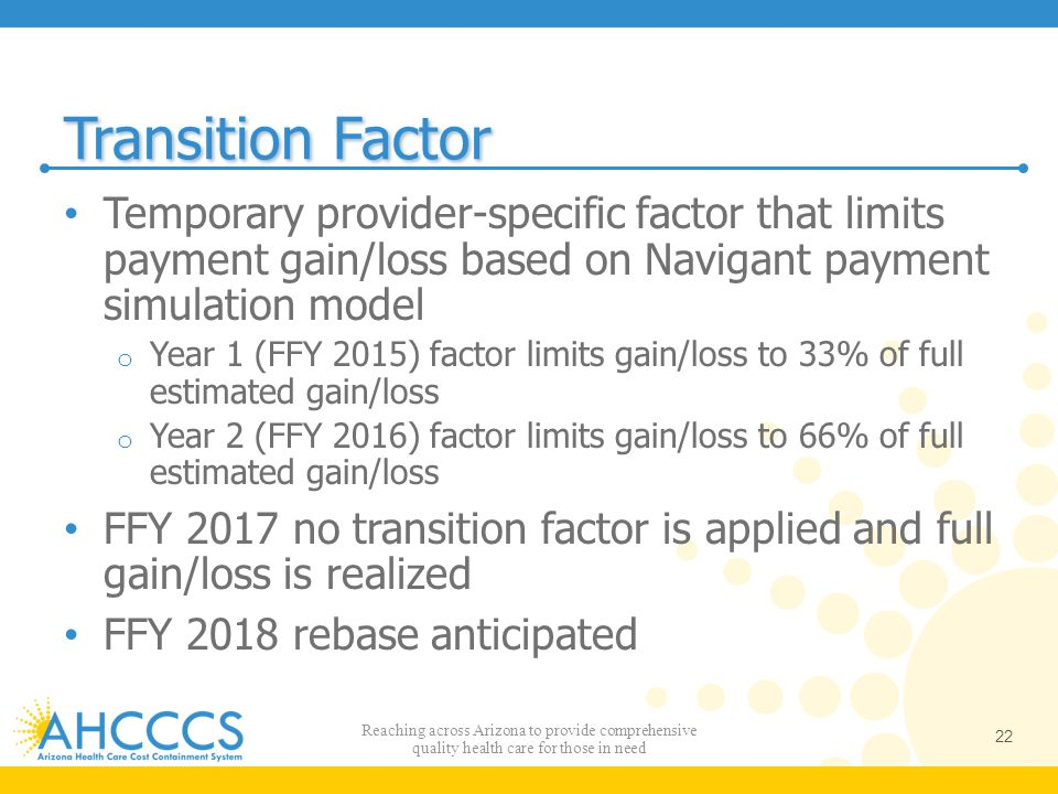 Transition Factor Temporary provider-specific factor that limits payment gain/loss based on Navigant payment simulation model.