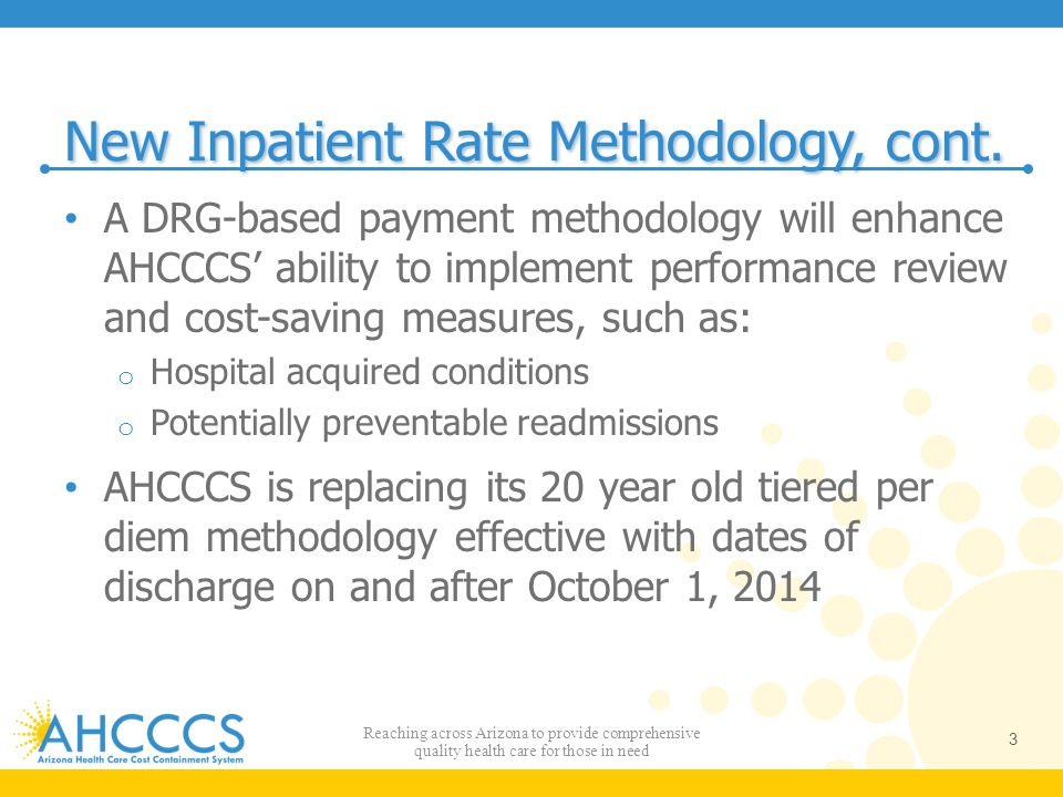 New Inpatient Rate Methodology, cont.