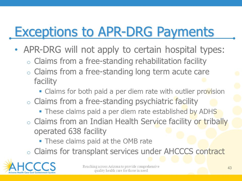 Exceptions to APR-DRG Payments