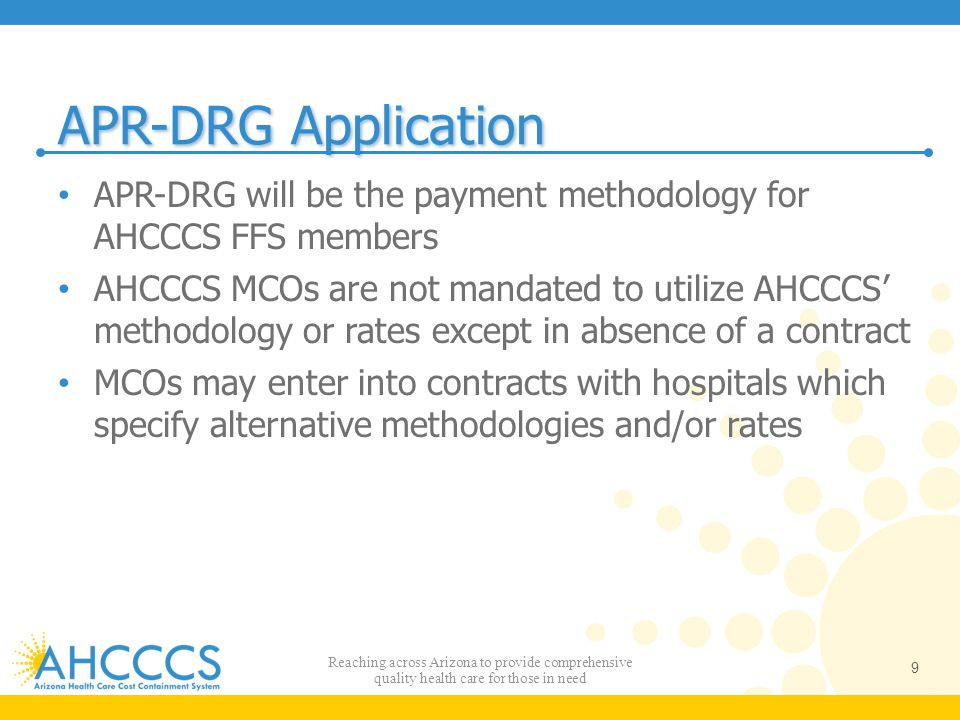 APR-DRG Application APR-DRG will be the payment methodology for AHCCCS FFS members.