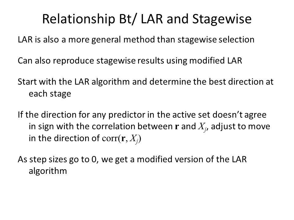 Relationship Bt/ LAR and Stagewise