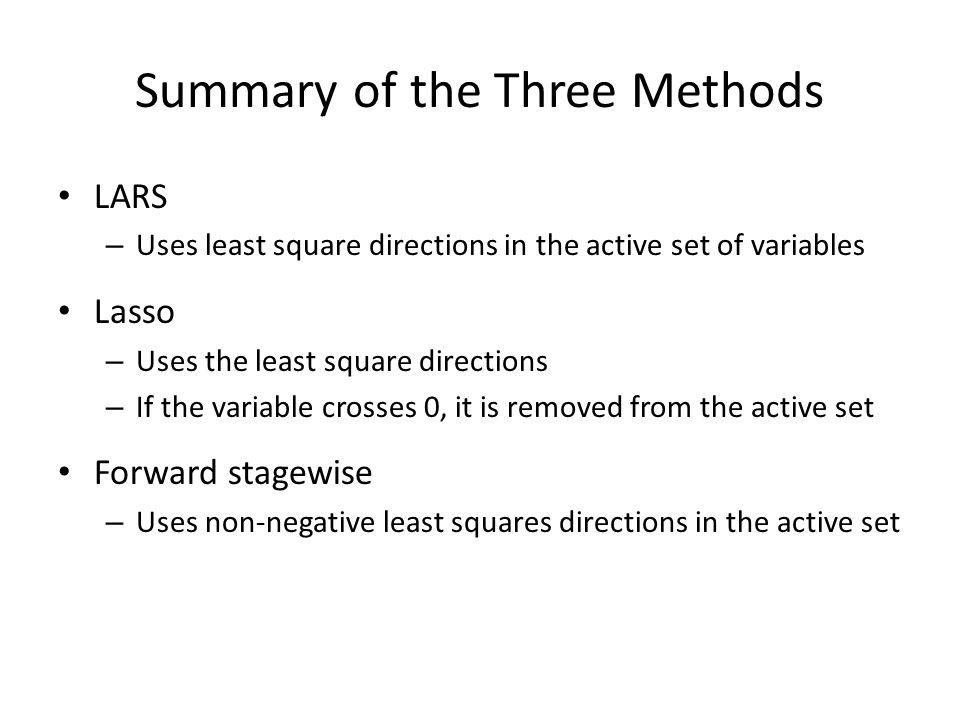 Summary of the Three Methods