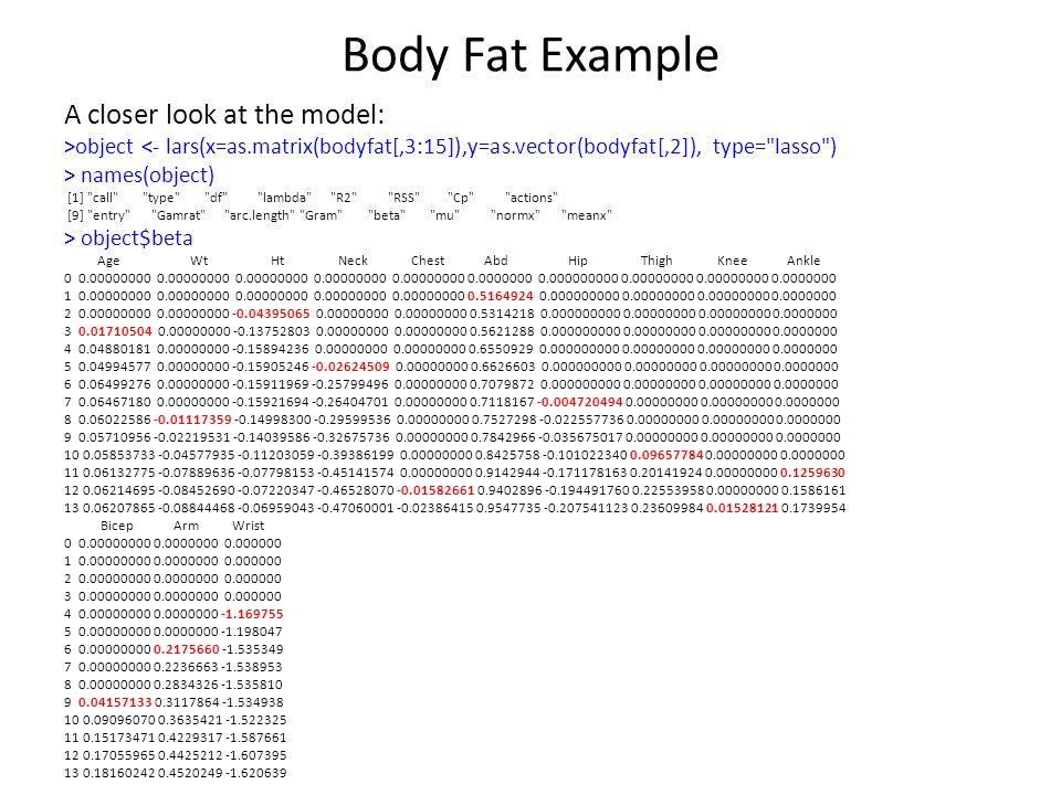 Body Fat Example A closer look at the model: