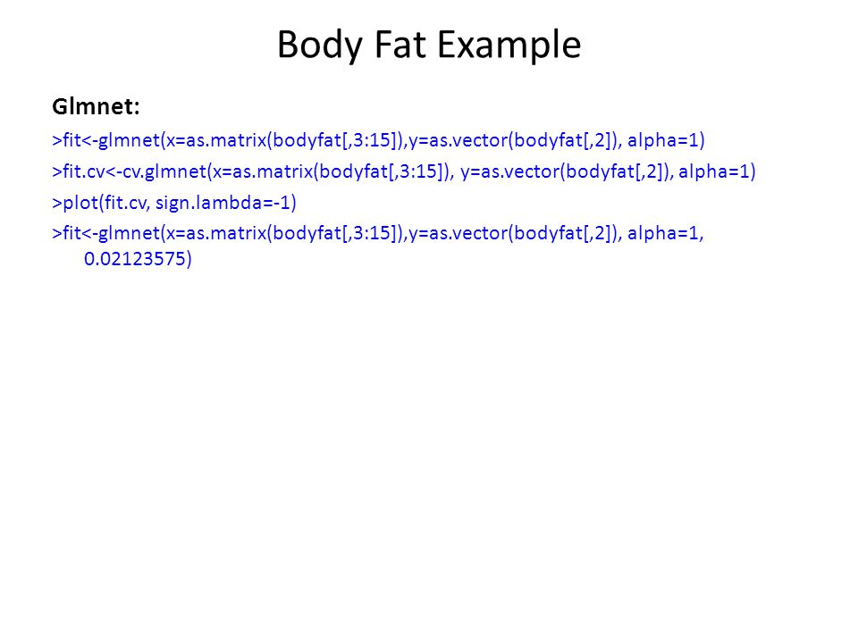 Body Fat Example Glmnet: