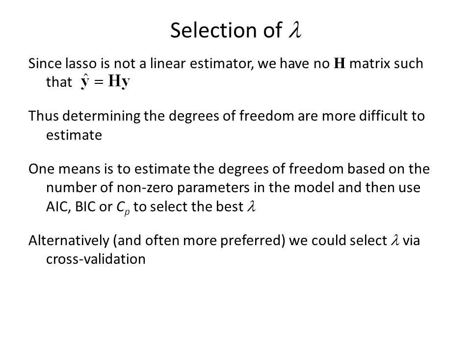 Selection of l