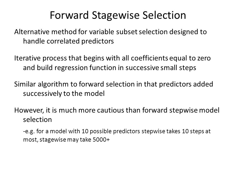 Forward Stagewise Selection