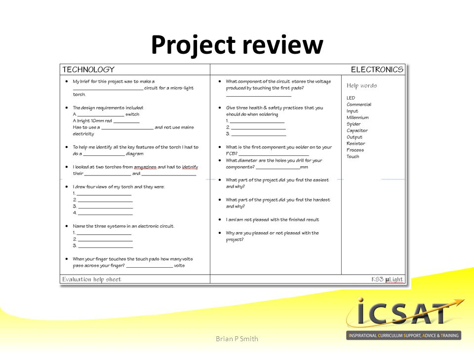 Project review Brian P Smith