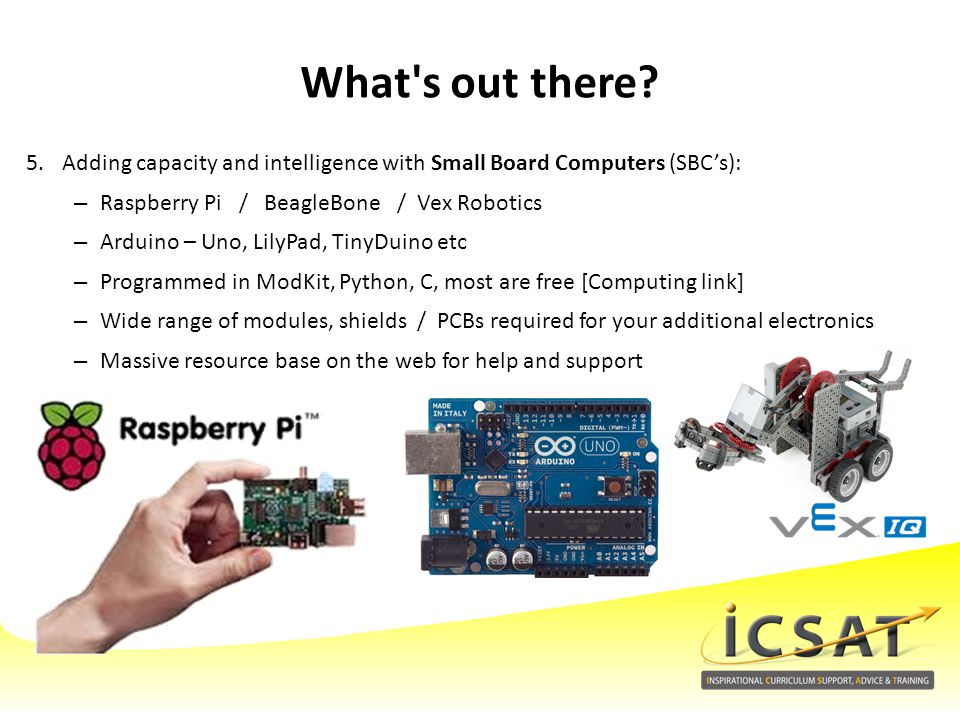 What s out there Adding capacity and intelligence with Small Board Computers (SBC's): Raspberry Pi / BeagleBone / Vex Robotics.
