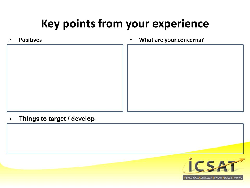 Key points from your experience