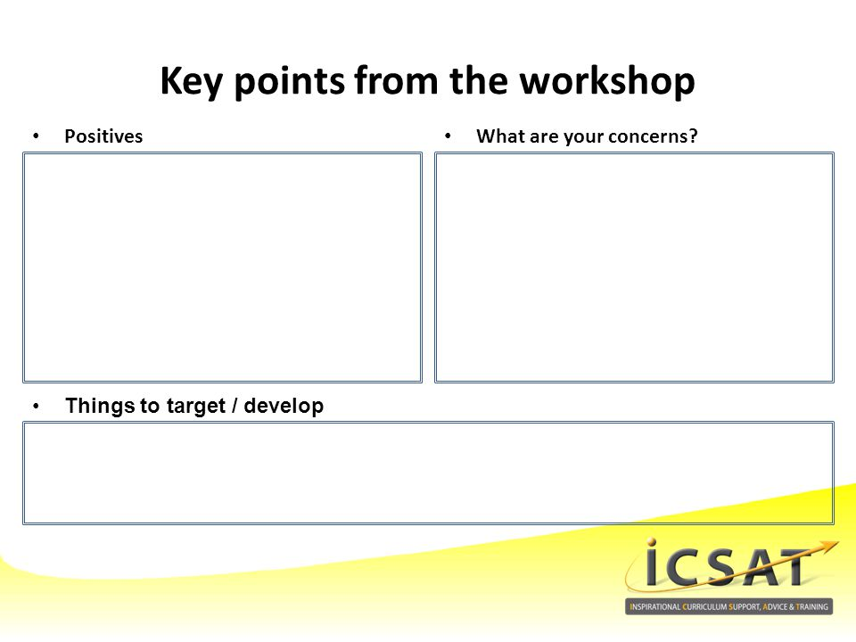 Key points from the workshop
