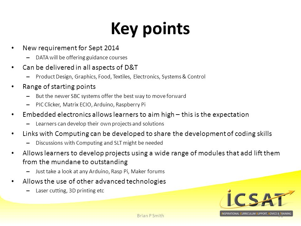 Key points New requirement for Sept 2014