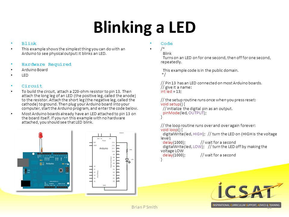 Blinking a LED Blink Hardware Required Circuit Code Brian P Smith