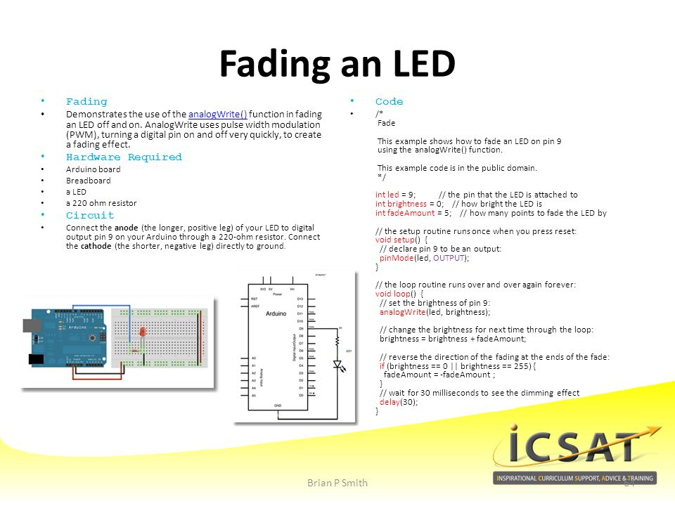 Fading an LED Fading Hardware Required Circuit Code Brian P Smith